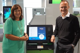 Rachel Nash (NCR) and Barnaby Davis (Nationwide) with the new ATM