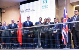 Representatives of Borsa Istanbul attend the market open at the LSE, 11 September 2015