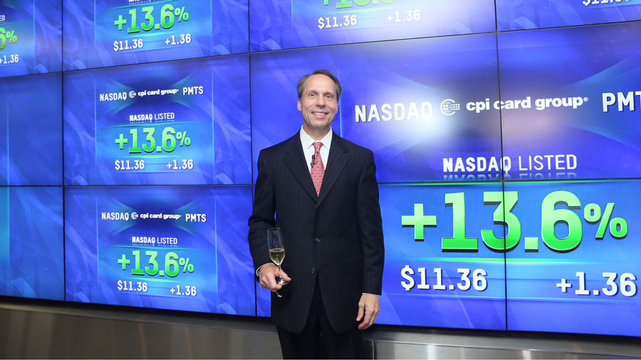 CPI Card Group CEO Steve Montross at the Nasdaq opening bell ceremony Friday, Oct. 9, 2015.