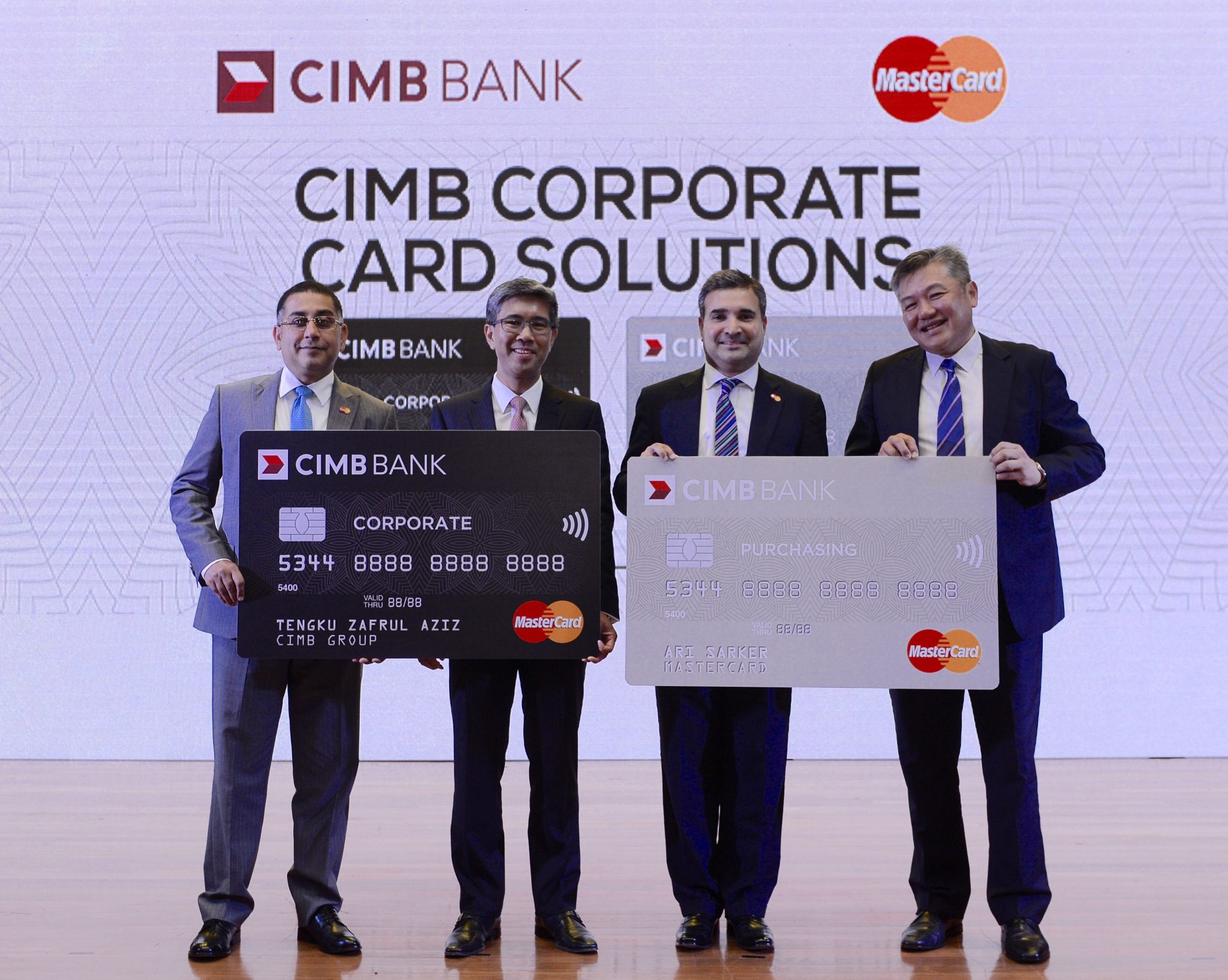 Launch of CIMB's Corporate Card Solutions (L-R): Safdar Khan, group country manager, Indonesia, Malaysia & Brunei and group head, Islamic payments, South East Asia, MasterCard; Tengku Dato' Sri Zafrul Aziz, group chief executive, CIMB Group; Ari Sarker, co-president, Asia/Pacific, MasterCard and Thomas Tan, group head, transaction banking, CIMB Group