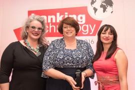 From left to right: Ghela Boskovich, FemTechGlobal; Jennifer Stott, RBC Investor and Treasury Services, W.I.T. Award 2016 winner; Tanya Andreasyan, Banking Technology