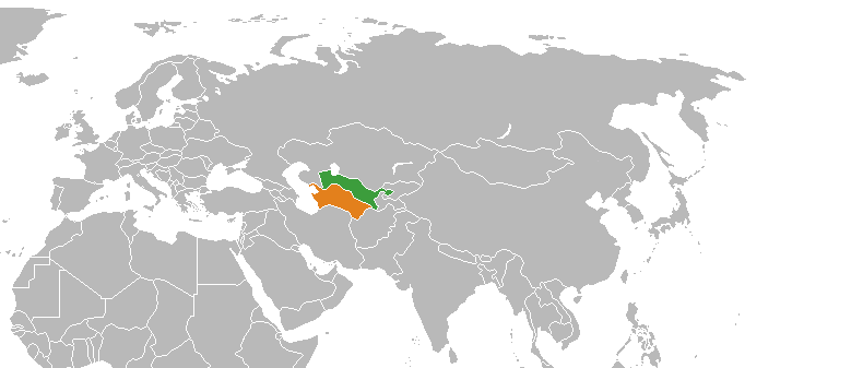 Turkmenistan (orange) and Uzbekistan © Wikipedia