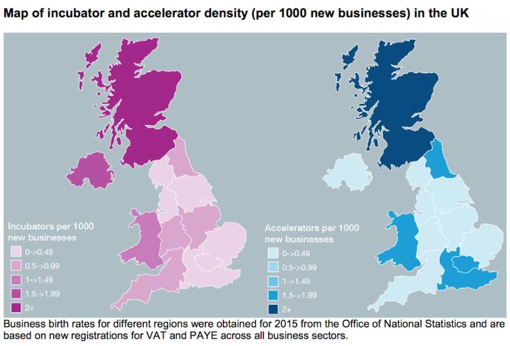 Map of accelerators and incubators UK