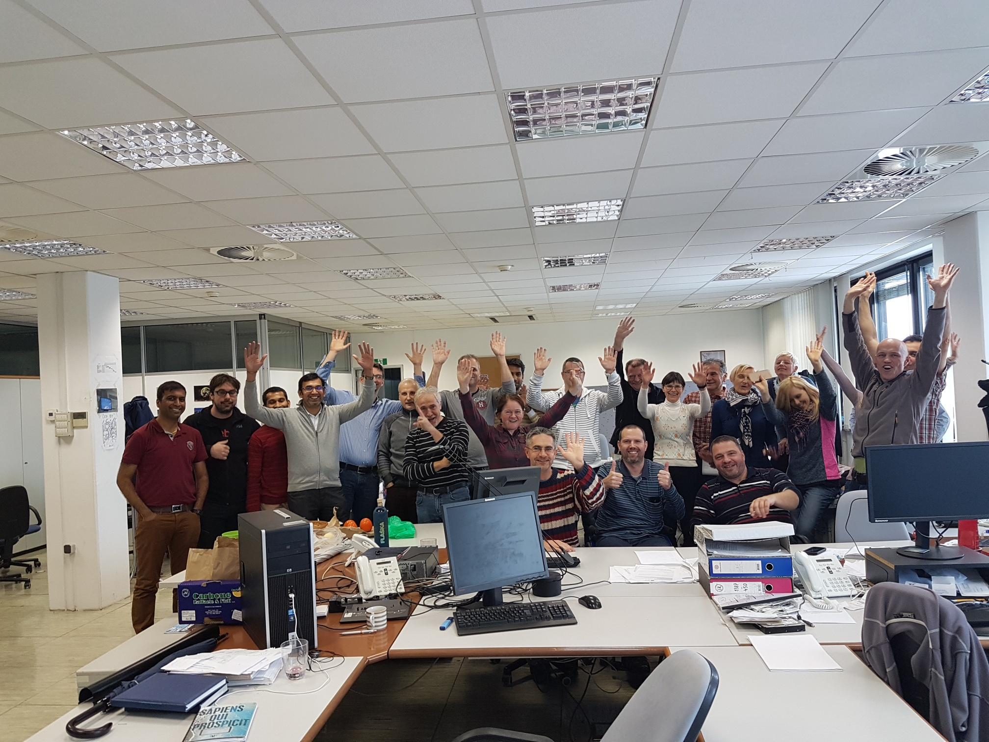 The IT team celebrating the successful go-live