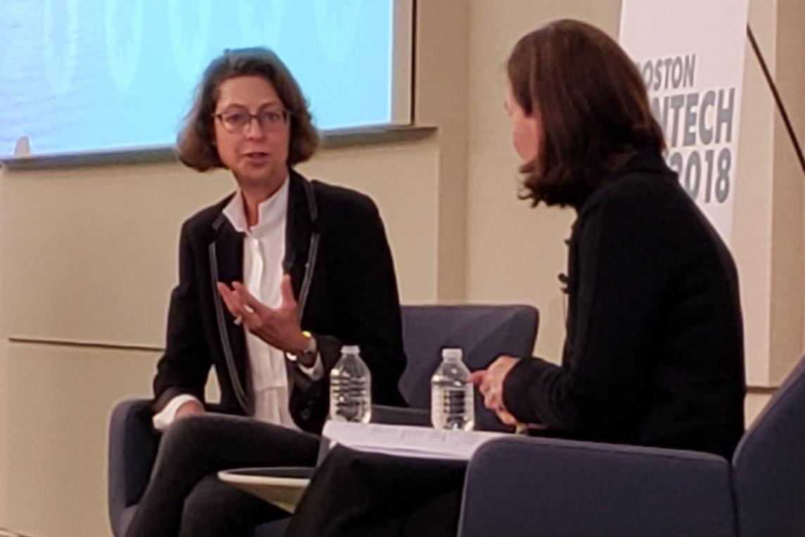 Fidelity CEO Abigail Johnson (left) speaks during Boston Fintech Week 2018