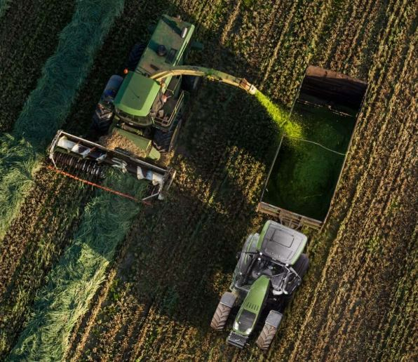 Farming machinery in a field