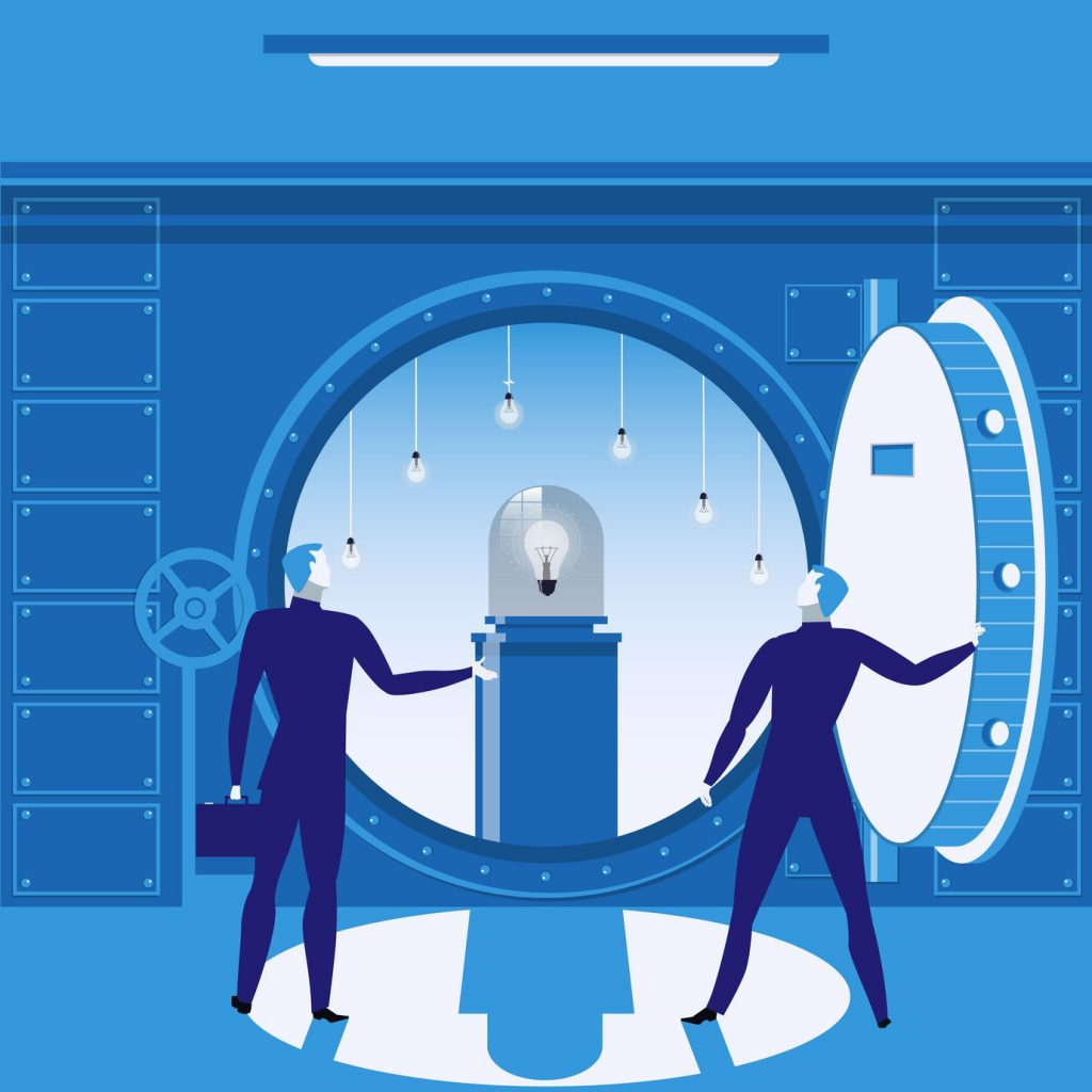 Two blue male suited vectors opening a bank vault with a light bulb inside, symbolising open banking