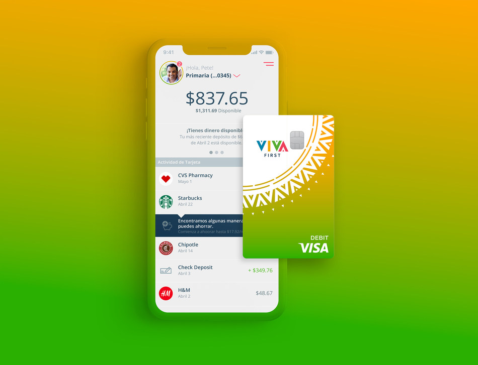 Viva First mobile app and Visa™ debit card