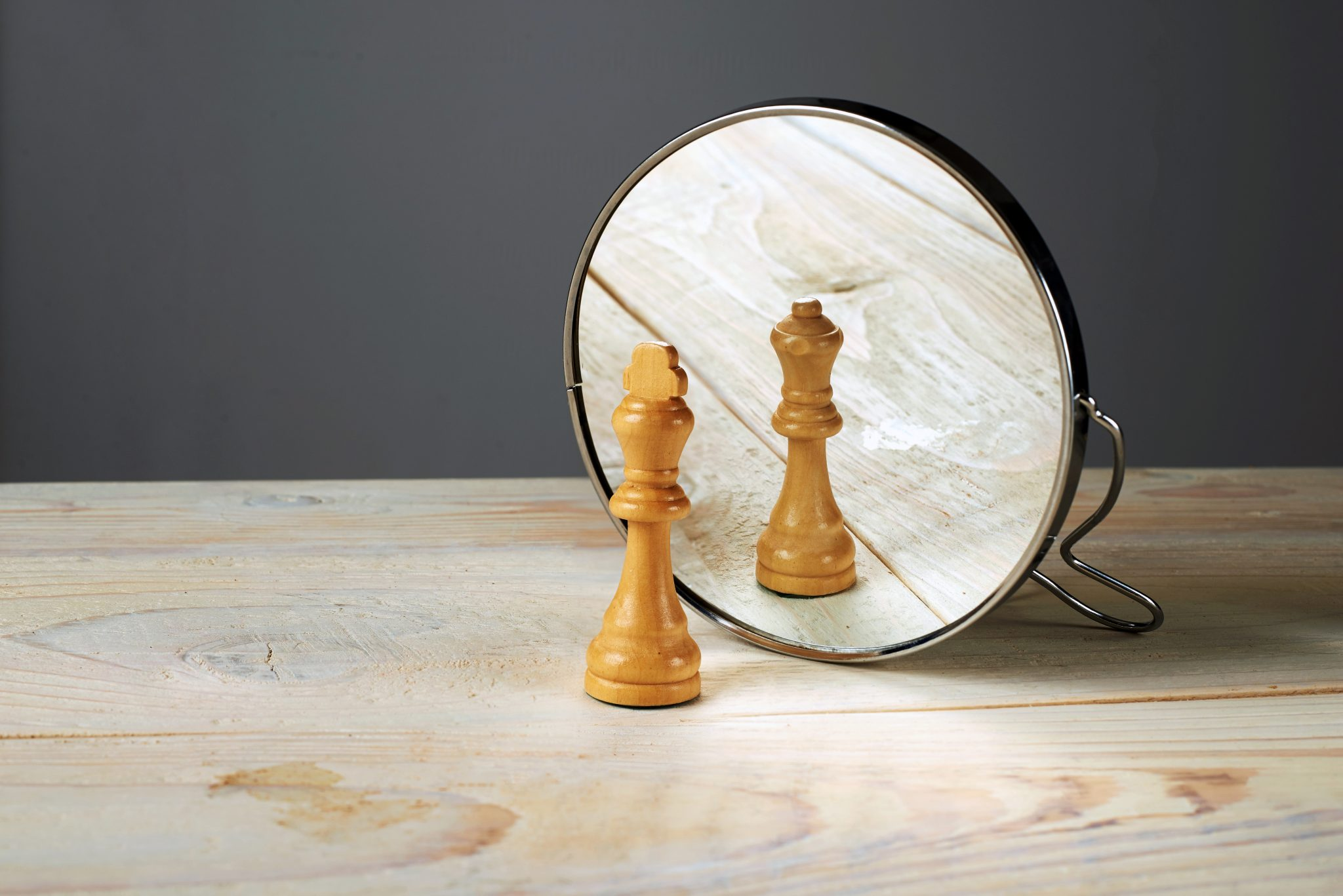 Chess piece in mirror