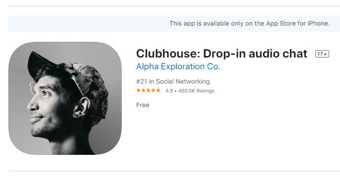 Clubhouse app on the Apple Store