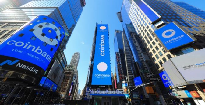 Coinbase IPO values it at $99.6bn with shares up 52% on debut