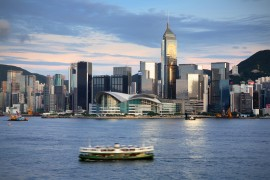 Hong-Kong-harbour-with-ferry