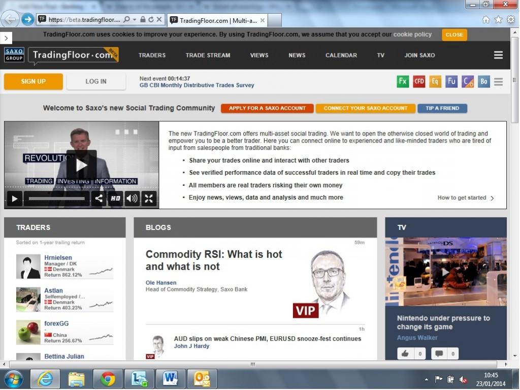 A screenshot of Saxo Bank's new website, beta.tradingfloor.com